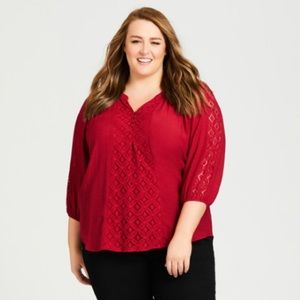 Lots to Love Lace Trim Plus Size Top in 26w 28w